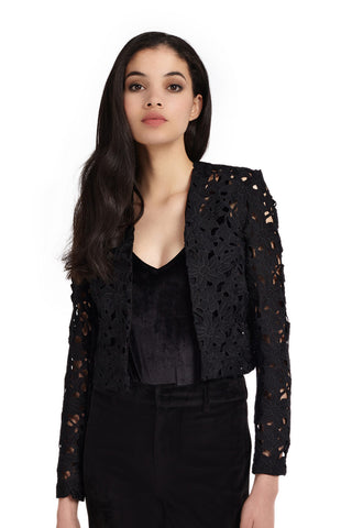 Wolf & Whistle Crochet Lace Jacket in Black