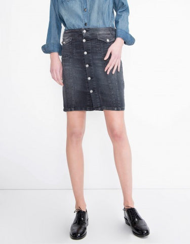 Reiko Judy Pencil Denim Skirt in Black