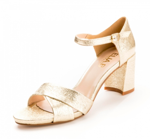 Elia.B Hallie Block Heel Sandal in Gold
