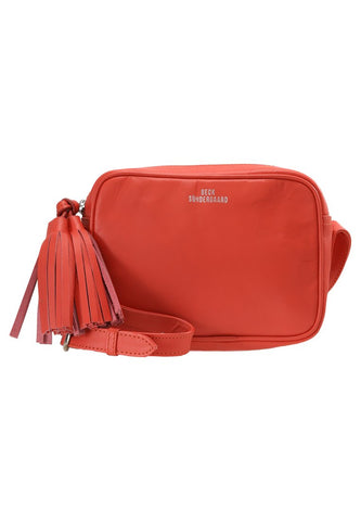 Lullo Cross Body Leather Bag in Hot Coral