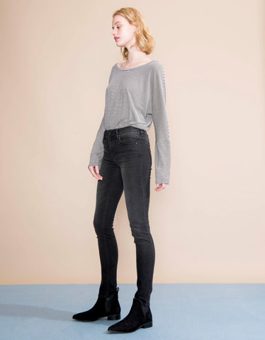 Reiko Arnel High Waist Skinny Jeans in Faded Black