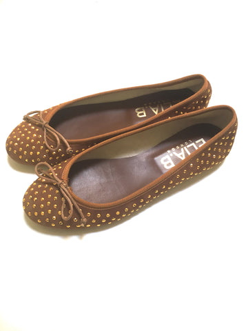 Elia.B Stefania Studded Suede Ballet Flat in Oro