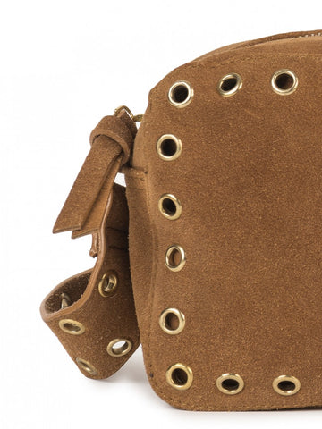 Indi&Cold Cross Body Suede Eyelet Bag in Cognac