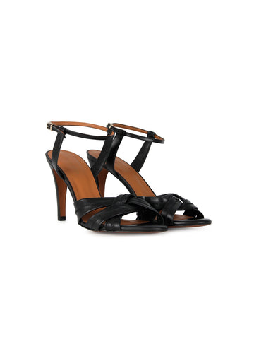 Intropia 959 strappy leather heels in black