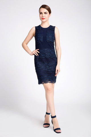 Jus D'Orange Cherie Lace Dress in Navy