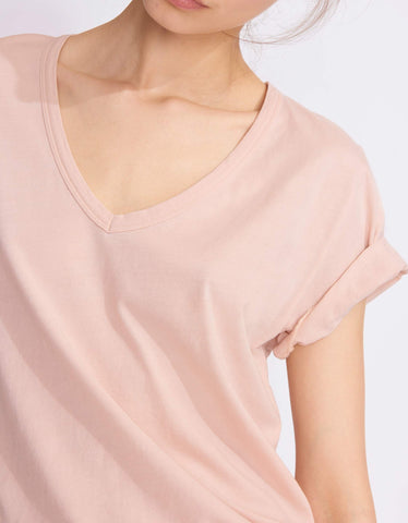 Tim V-Neck Tee in Smoky Pink