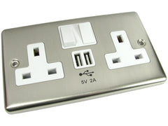 USB and UK Power Sockets - Brushed Chrome