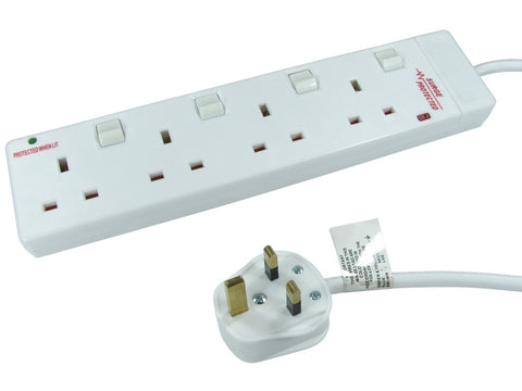 4 Way UK Power Extension Socket Switched