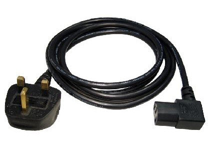 UK Mains Power Cable IEC C13 Right Angled - 1.8 Mtr