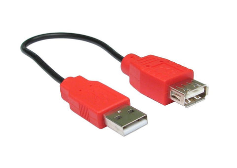 USB Power Extension Cable A Male to A Female and Red Hoods - 0.2 mtr