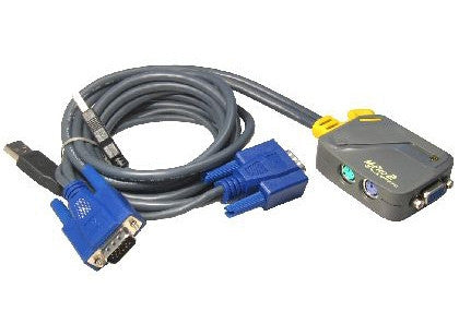 Micro 2 Port PS/2 KVM Switch with 2x USB Moulded Leads