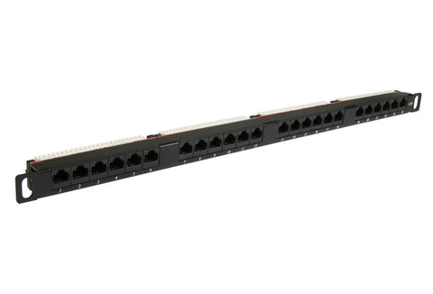 24 Port 0.5U Rack Mountable Cat6 RJ45 UTP Patch Panel