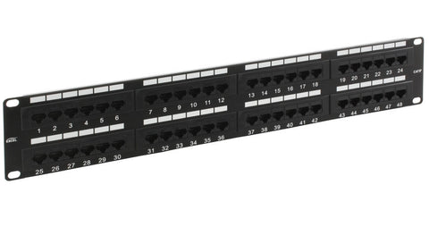 48 Port 2U Rack Mountable Black Excel Cat5e RJ45 UTP Patch Panel