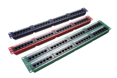 24 Port 1U Rack Mountable Red Excel Cat5e RJ45 UTP Patch Panel