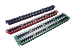 24 Port 1U Rack Mountable Blue Excel Plus Cat5e RJ45 UTP Patch Panel