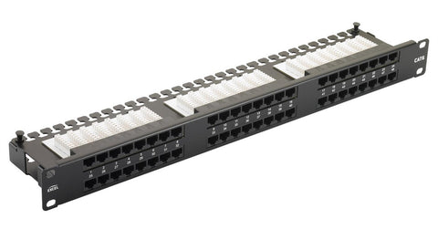 24 Port 1U Black Excel Cat6 RJ45 UTP Right Angle Patch Panel