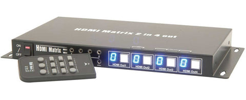 2x4 Way High Speed HDMI matrix Switch with remote control
