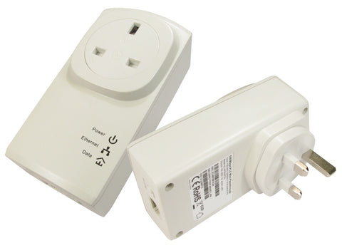 500Mbps Mini Ethernet Pass Through Homeplug- Dual Pack- White