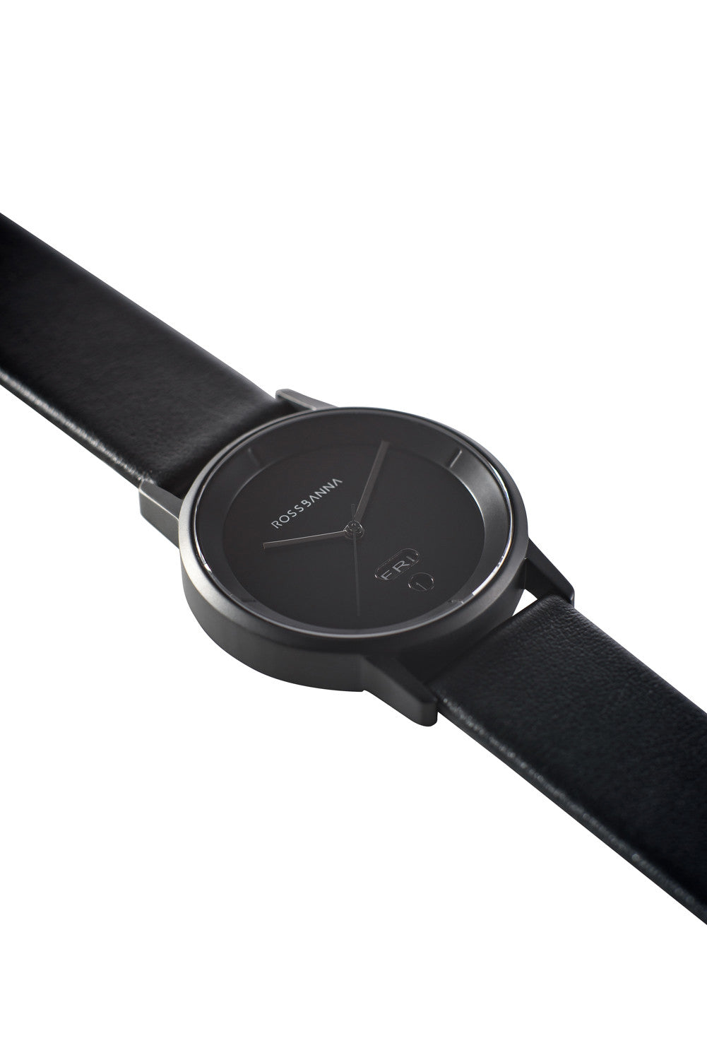 Matte black Rossbanna Cornice watch with black strap, minimal, elegant, timeless, unique timepiece 02