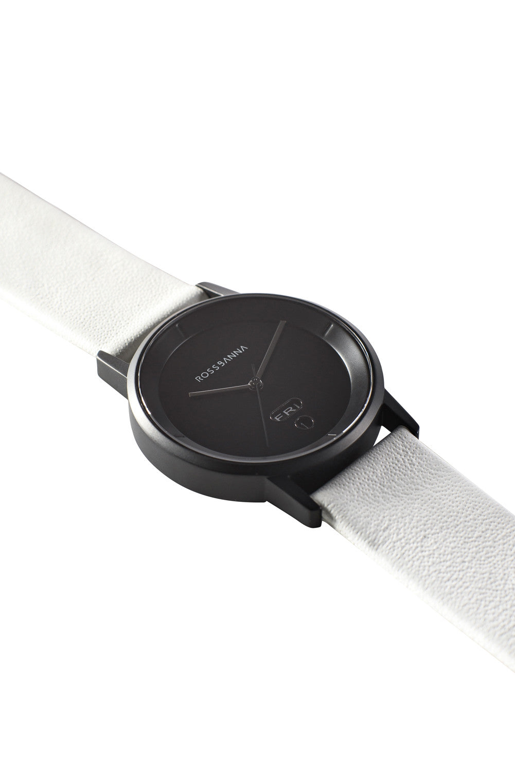 Matte black Rossbanna Cornice watch with white strap, minimal, elegant, timeless, unique timepiece 02