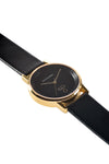 Gold Rossbanna Cornice watch with black strap, minimal, elegant, timeless, unique timepiece 02