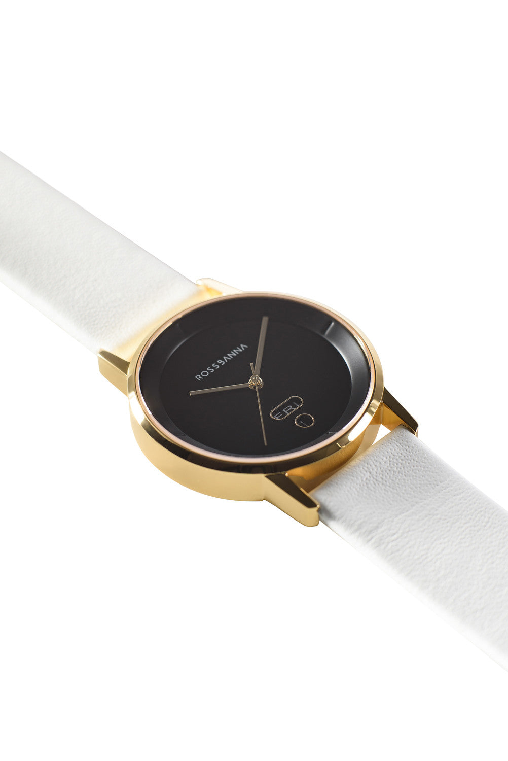 Gold Rossbanna Cornice watch with white strap, minimal, elegant, timeless, unique timepiece 02