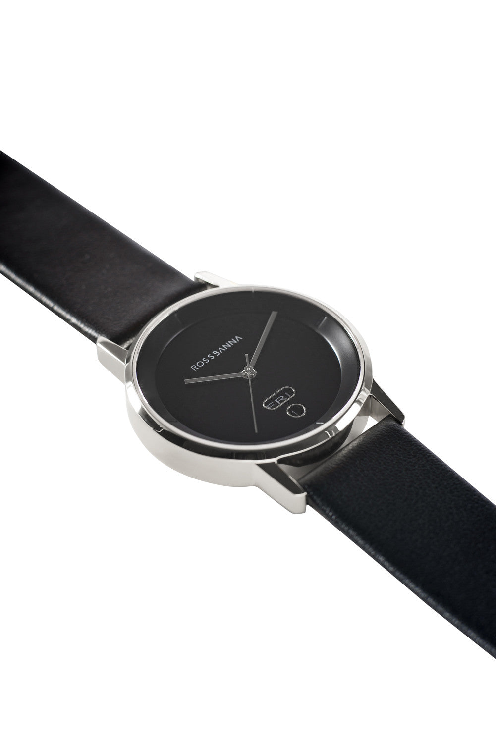 Silver Rossbanna Cornice watch with black strap, minimal, elegant, timeless, unique timepiece 02