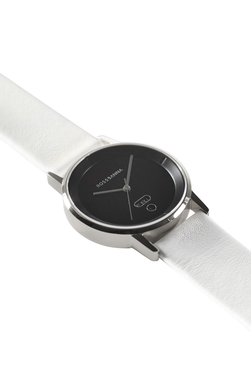 Silver Rossbanna Cornice watch with white strap, minimal, elegant, timeless, unique timepiece 02