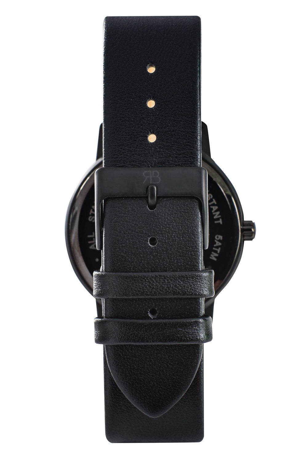 Matte black Rossbanna Cornice watch with black strap, minimal, elegant, timeless, unique timepiece 05