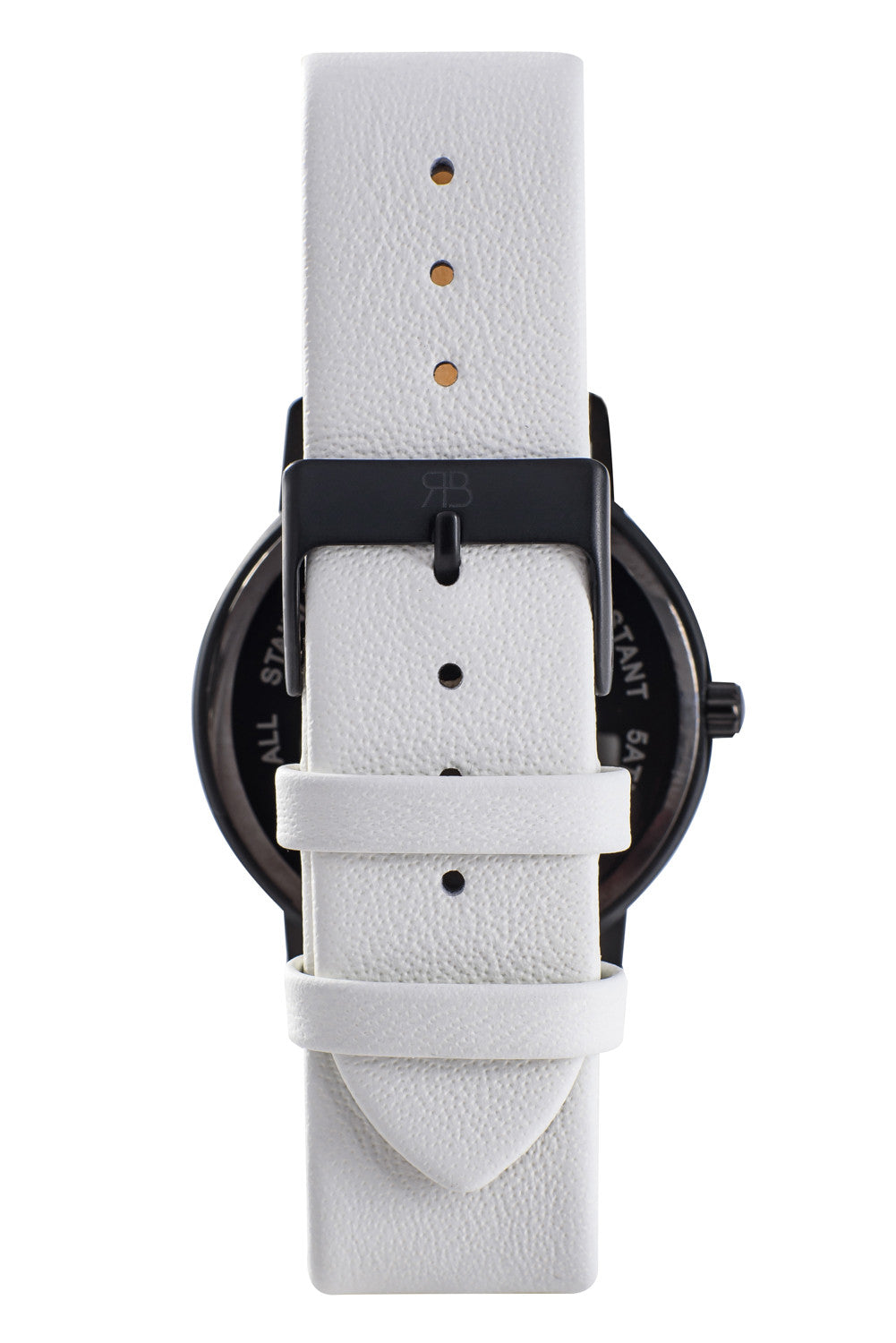 Matte black Rossbanna Cornice watch with white strap, minimal, elegant, timeless, unique timepiece 05