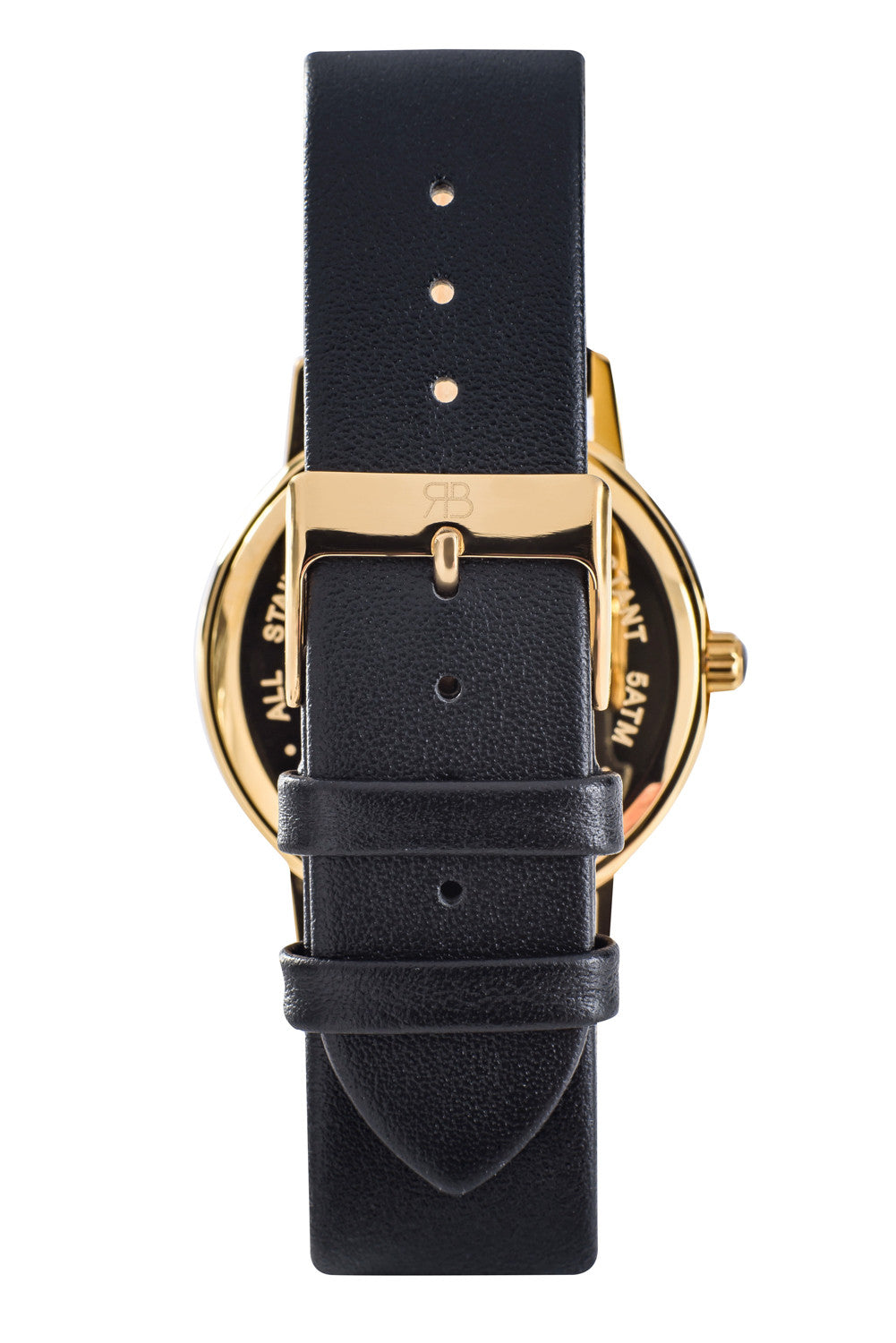 Gold Rossbanna Cornice watch with black strap, minimal, elegant, timeless, unique timepiece 05