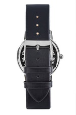 Silver Rossbanna Cornice watch with black strap, minimal, elegant, timeless, unique timepiece 05