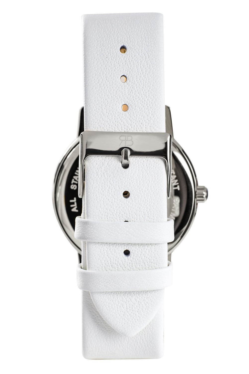 Silver Rossbanna Cornice watch with white strap, minimal, elegant, timeless, unique timepiece 05