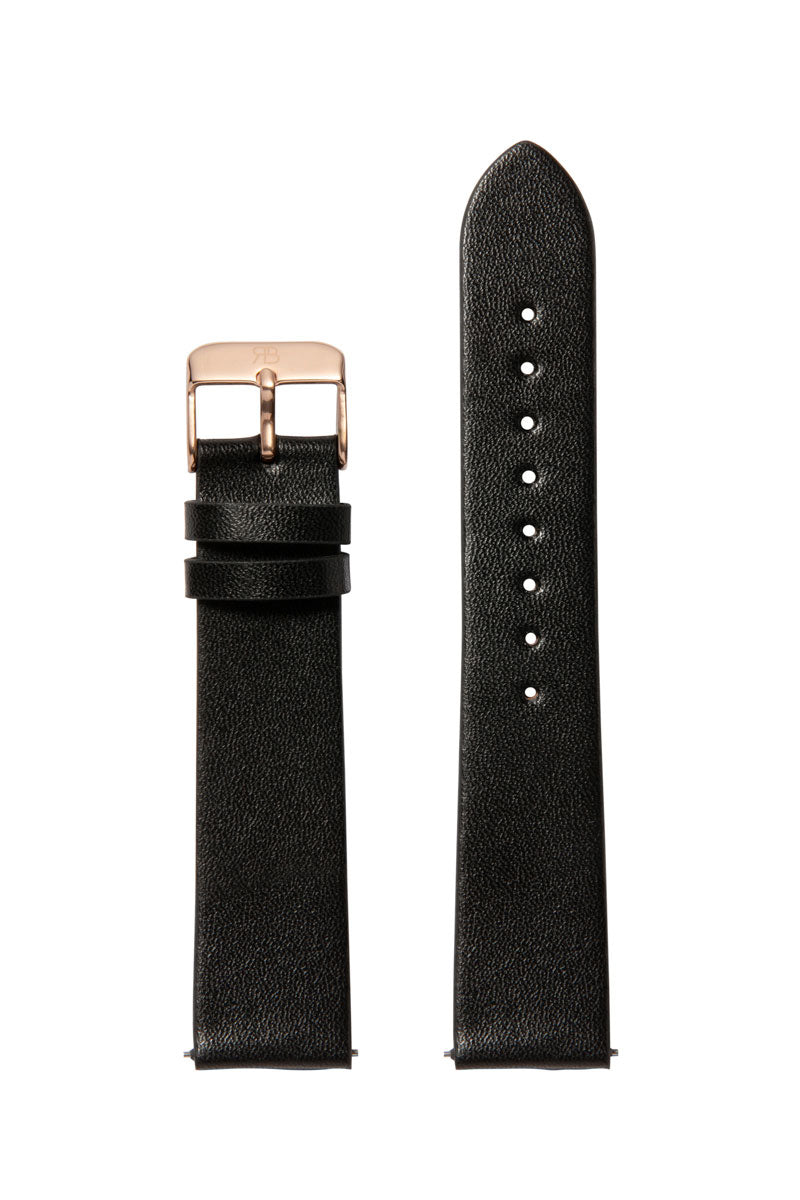 Black Leather 20 Strap Rose Gold