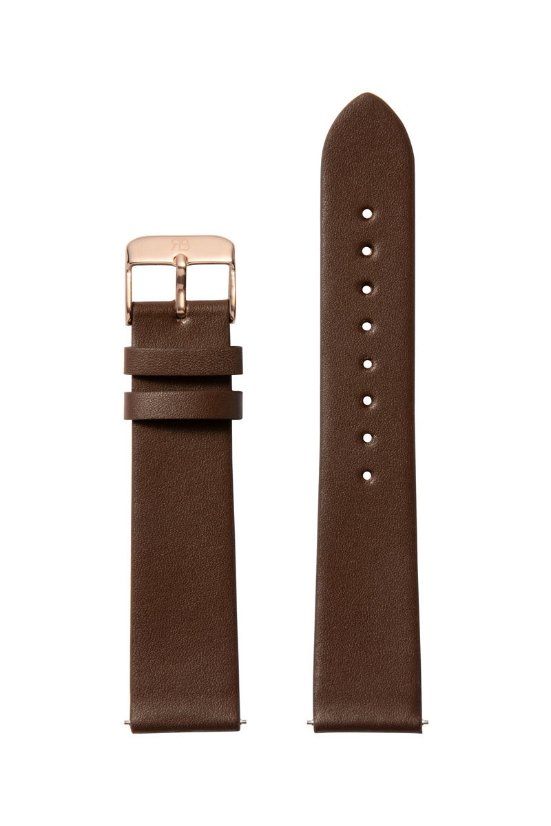 Brown Leather 20 Strap Rose Gold