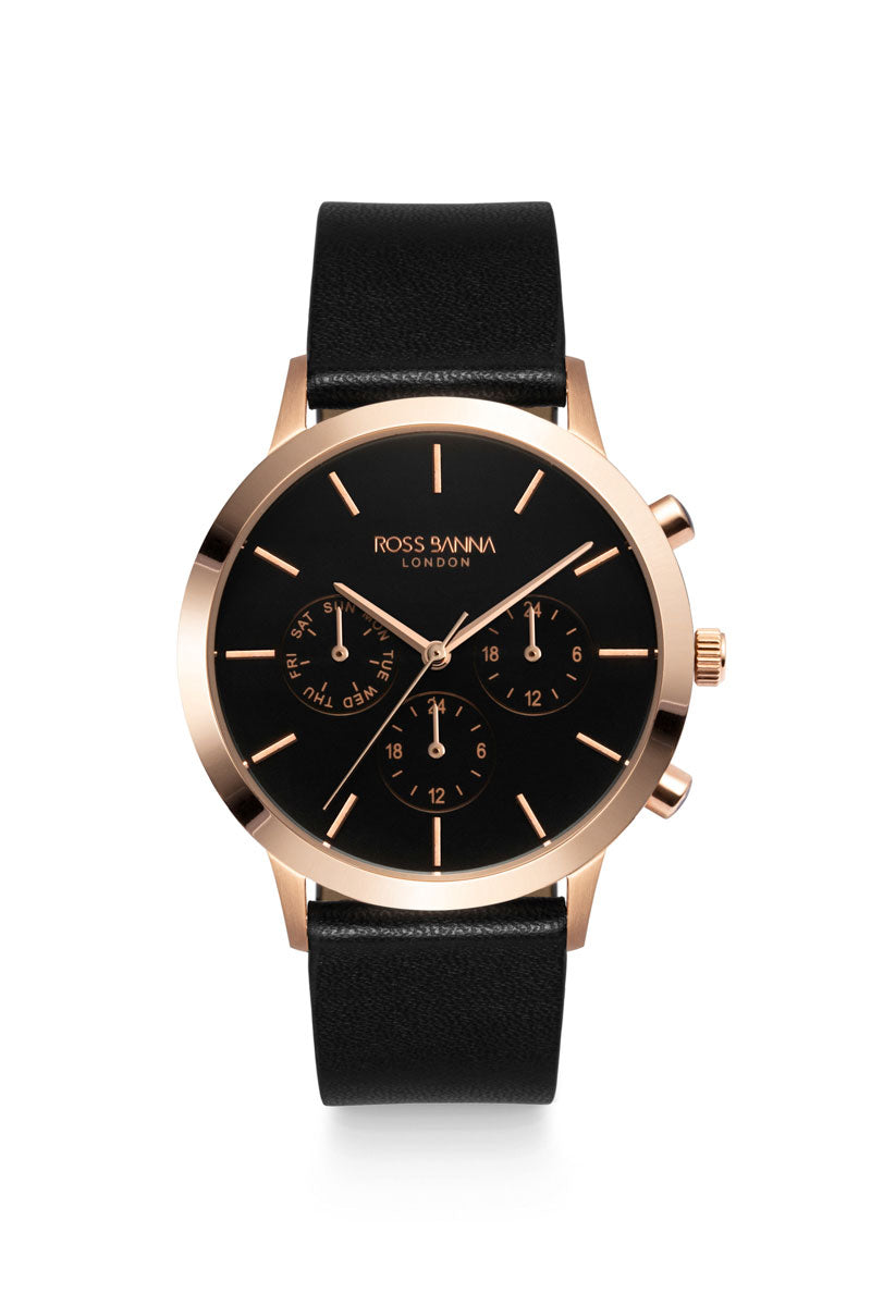 Rotunda Rose Gold Black Leather