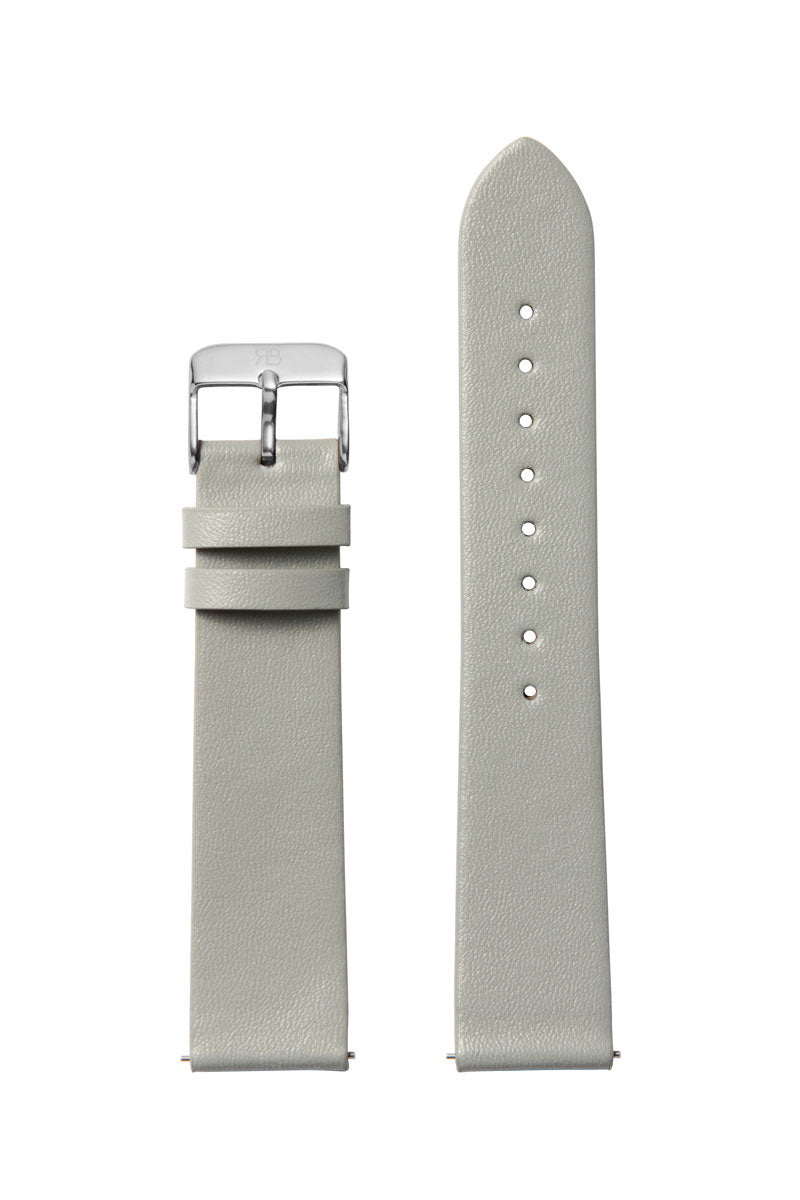 Grey Leather 20 Strap Silver