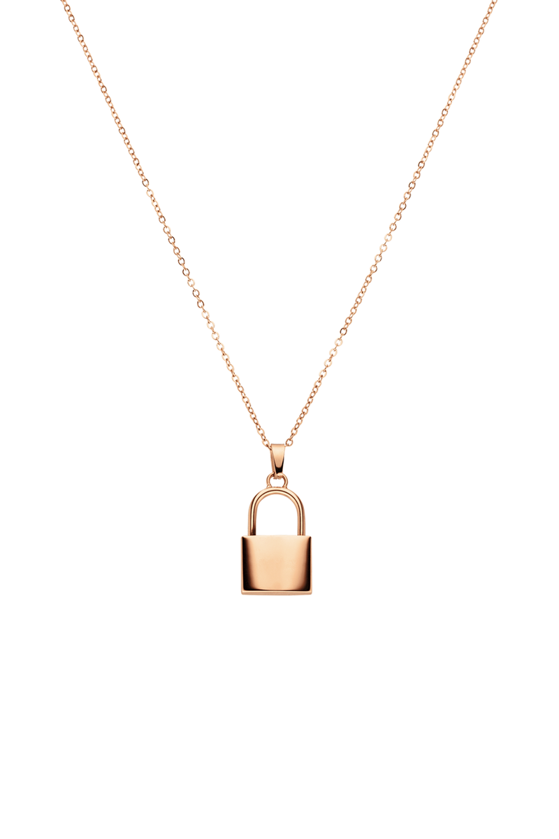 Amelie Padlock Necklace, Rose Gold