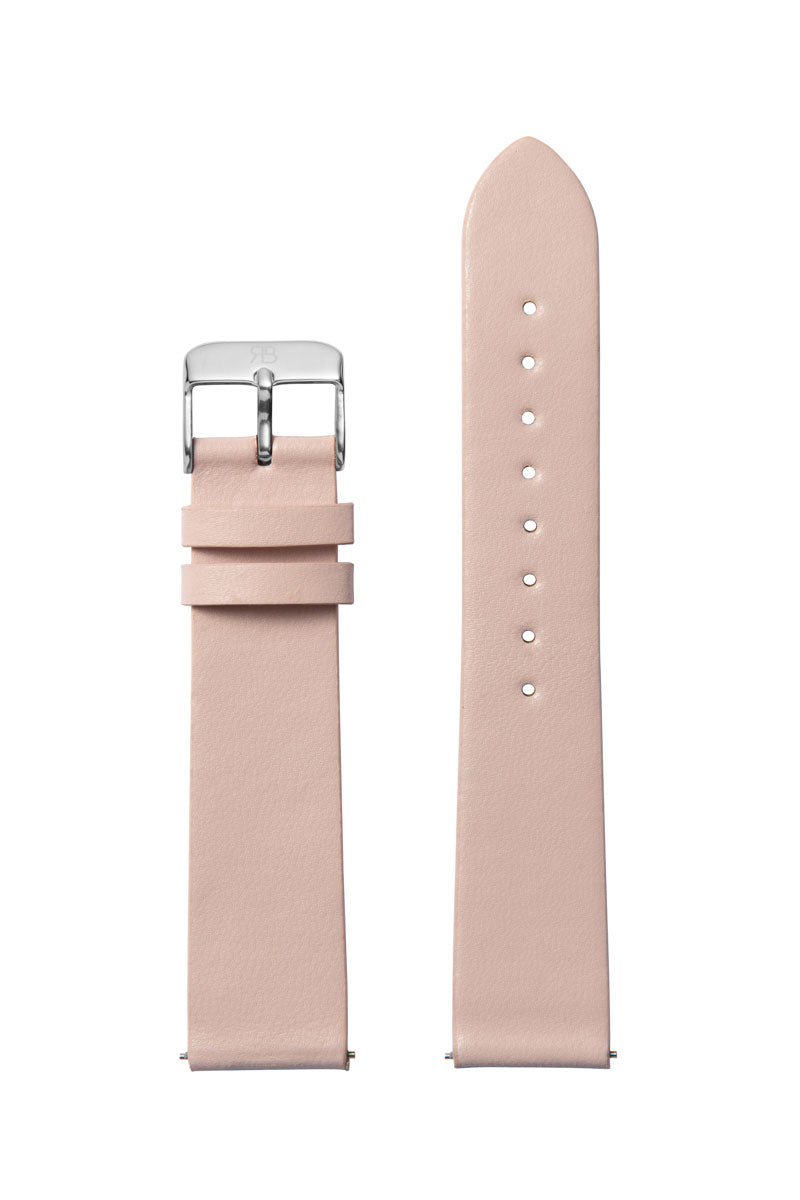 Pink Leather 20 Strap Silver