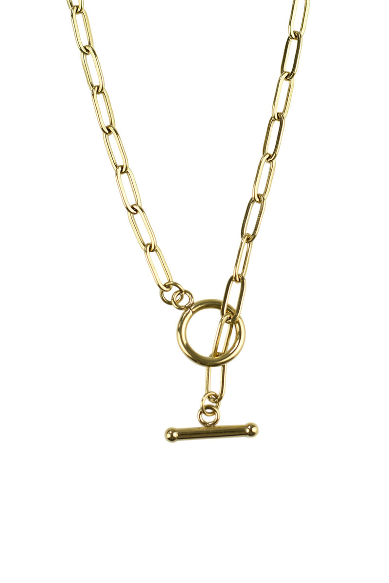 T Bar Chain Necklace, Gold