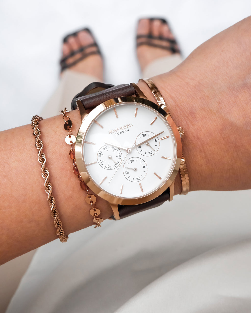 Rotunda Rose Gold White Leather Brown