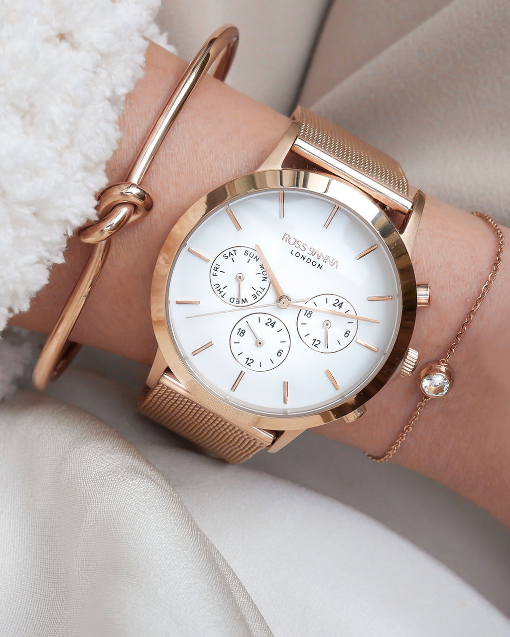 Rotunda Rose Gold White Mesh