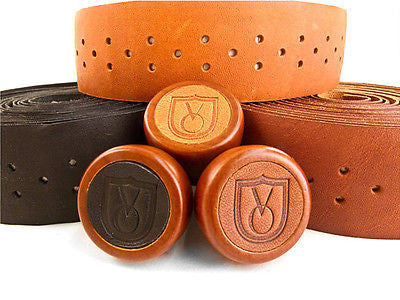 Velo Orange Leather Handlebar tape BROWN with wooden bar end plugs - Top Quality