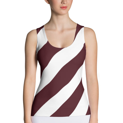 Team Stripes Maroon & White Striped Sublimation Cut & Sew Tank Top