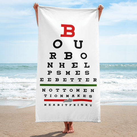 Bourbon Eyechart Beach Towel