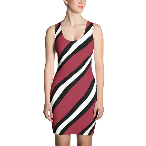 Red, Black, and White Striped Sublimation Cut & Sew Dress