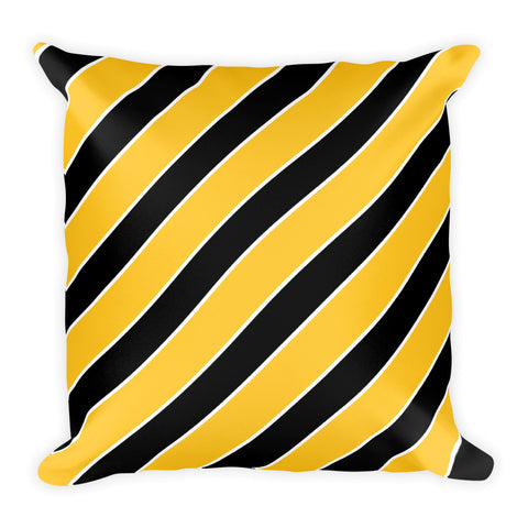 TEAM STRIPES GOLD/YELLOW, BLACK & WHITE Square Pillow