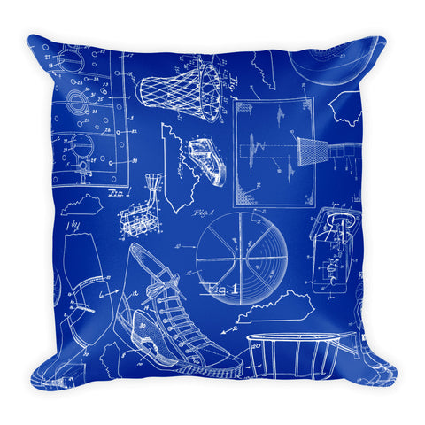 KENTUCKY BASKETBALL PATENTS (BLUE 2) Square Pillow
