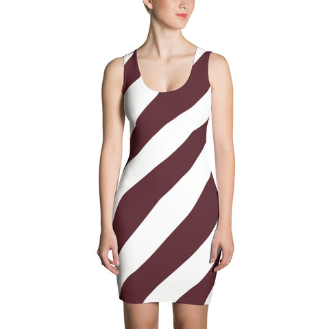 Team Stripes Maroon & White Striped Sublimation Cut & Sew Dress