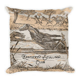 "Kentucky Vintage Horse Illustration ""Sculling Club"" Square Pillow"